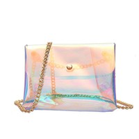 fashion summer bags for beach handbags girl holographic transparent travel shoulder bag womens purses crossbody bags with chains