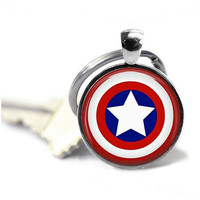 Made to Order Captain America  Glass Cabochon Silver Round keychain.    JJH 9092705