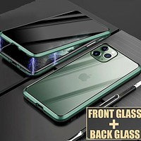 iPhone Magnetic Privacy Glass Case Phone Cover