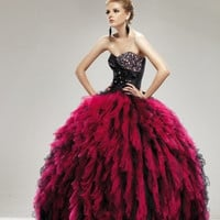 AB9309 Hot Pink and Black Quinceanera Sweet 16 Prom Ballgown Dress