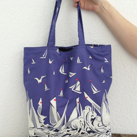 Tote Bag Sailboats Patterned Summer Bag Beach Bag with Black Fabric Lining, Shopping Bag, Fast Delivery
