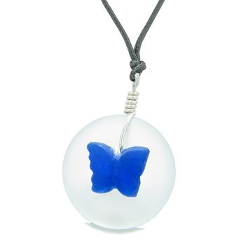 Lucky Butterfly Sea Glass Donut Positive Energy Amulet White Ocean Blue Pendant Adjustable Necklace