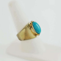 Gold Turquoise Ring - Gold Plated Wide Ring Size 8.75 - Oval Turquoise Ring - Vintage Gold Ring - Gold Sterling Ring