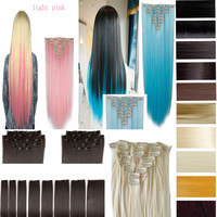 """26"""" (66cm) 170g Straight 8pcs/set Full Head Clip in Hair extensions Color Hair Blue Purple Pink Blonde Brown Gray Synthetic Hair"""