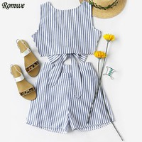 ROMWE Womens Two Piece Sets 2017 Summer Ladies Two Way Sleeveless Blue Vertical Striped Bow Tie Crop Top With Shorts
