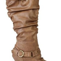 leather heel boot with ruched shaft, strap, buckle and stud details - debshops.com