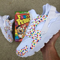 "Custom ""fruity pebble"" nike huaraches white and colorful brand new all sizes"