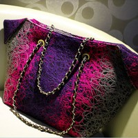 rainbow worsted shadow CONTRAST COLOR turned edge shoulder bag-corlorful