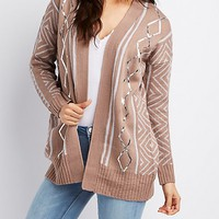 Metallic Foil-Detail Open-Front Cardigan | Charlotte Russe