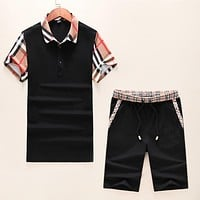 BURBERRY Fashion Men Casual Short Sleeve Top Shorts Set Two-Piece Sportswear