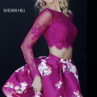 Sherri Hill 32323 Long Sleeve Crop Top Floral Homecoming Dress