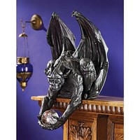 SheilaShrubs.com: Clutch, Keeper of the Mystic Orb Gargoyle Sitter Statue QS222896 by Design Toscano: Indoor Sculptures & Statues