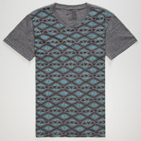 Blue Crown Tribal Print Mens T-Shirt Turquoise  In Sizes