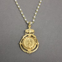 18K Yellow Gold Virgin Mary Pearl Necklace