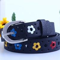 for prety girl gift New hollow butterfly flowers children lace belt boys and girls Brand PU leather belts women waistband SM6