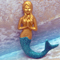Mermaid Gold Praying Hands German Glass Glitter Tail Cottage Wall Decor Beach Nautical Shimmering Teal Green Glitz n Glamour Accent