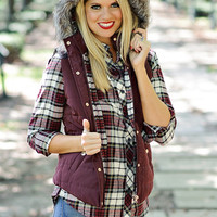 Dorothy Plaid Lined Puffer Vest with Fur Trimmed Hood : Wine