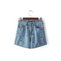 2016 Women fashion Pineapple embroidery denim shorts lady casual slim jeans shorts FCBI0510-8