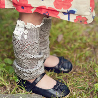 Lil Lacey Lou - light grey: Girls lacey openknit leg warmers w/ knit lace trim& buttons - legwarmers baby legs (item no. G-3-13)