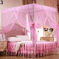 Cool Princess Lace Canopy Mosquito Net Four Corner Post Bug Insect Repeller No Frame Full Queen King Size Bed Mosquito 180cm x 200cmAT_93_12