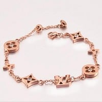 "LV ""Louis Vuitton"" Hot Women Small Flower Bracelet Women Titanium Bracelet Jewelry Accessories +Best Gift"