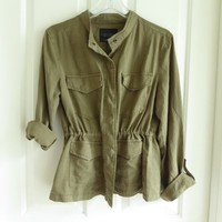 NWT Sanctuary Olive Safari Jacket w/ drawstring waist, mandarin collar