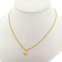 Edforce Stainless Steel Hamsa Hand With Stone Pendant and Necklace Gold Tone