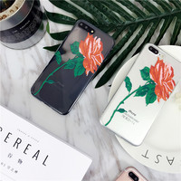 Rose Red Flower slim Clear fitted Case for iPhone 7 7Plus Froral Phone shell For iPhone 6 6s Plus Girls Back cover Capa Fundas -0317