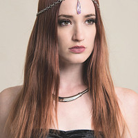 bohemain handmade silver head chain with purple faux gemstone pendant boho gypsy festival head piece