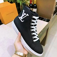 LV Louis Vuitton high-top new rubber outsole white letters black boots