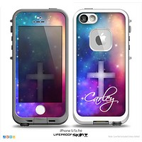 The Name Script Neon Galaxy Simple Cross V3 Skin for the iPhone 5/5s-4/4s- or 5c LifeProof Case