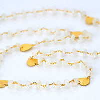 Long Heart Rainbow Moonstone wire wrapped necklace - available in 18K vermeil gold - June Birthstone