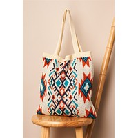 Ivory Orange Blue Tribal Print Knit Boho Tote Bag