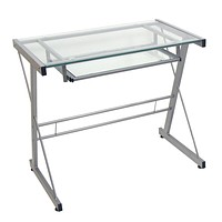 Walker Edison Modern Metal and Glass Laptop Computer Writing Gaming Gamer Command Center Desk Home Office, 31 Inch, Silver
