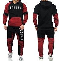 Brand Fashion Tracksuit Warm and Velvet Men Sport Patchwork Set Hoodie Sweatshirt GYMS Fitness Pants Workout Running Suit