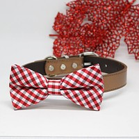 Dog Plaid Red Bow tie collar, Pet accessory, Dog collar, birthday gift, Plaid Red, Leather , Wedding dog collar