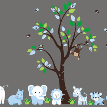 """Nursery Wall Decals, Blue Animal Colors, Blue Jungle Nursery Decals, Blue Colors and Themed Baby Room, Baby Blue Safari Decals - 83"""" x 67"""""""