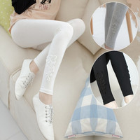 Spring Summer women's fashion thin section maternity Prop belly Pants Adjustable Elastic Bow was thin nine points leggings for pregnant women 3 colors = 1946090820