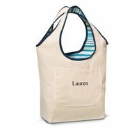 Blue Reversible Cotton Tote