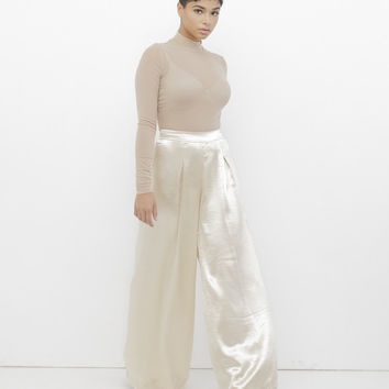 THE DOSSIER WIDE LEG PANT - GOLD