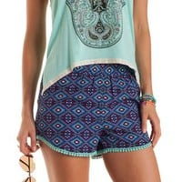 Blue Combo Pom-Pom Trim Geometric Print Shorts by Charlotte Russe