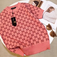 GUCCI Double G letter jacquard knit short sleeve