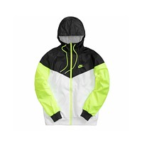 Nike Men's Color Block Hooded Jacket Black White Green