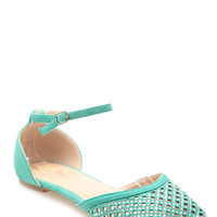 Mint Faux Suede Netted Ankle Strap Flats