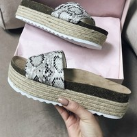 Big Plans White Python Platform Slide Sandal