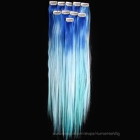 18'' 12pcs Synthetic Ombre Dip Dyed Hippie Hair Human Extension Clip in 27colors WGY57 Blue / Sky Blue / Light Blue