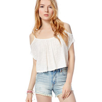 Womens Map To Mars Cold Shoulder Crop Top - Beige, X-Small