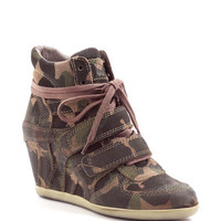 Bea Camo Leather Wedge Sneakers