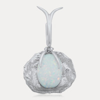 875 Silver Pendant with White Opal