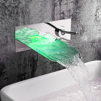 Bathroom Chrome Finish Silver Color Brass Wall Mounted LED Light Waterfall Basin Faucet Sink Tap Hot and Cold water MPAZ001